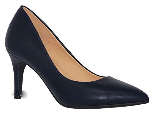 MVE Shoes Women's Pointed Toe Kitten Heel Pumps, Coen Black NB Size 8.5