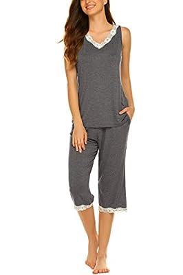 Hotouch Capri Sets Women's 2 PC Capri Pjs Sleeveless V Neck Loungewear Capri Dark Grey M