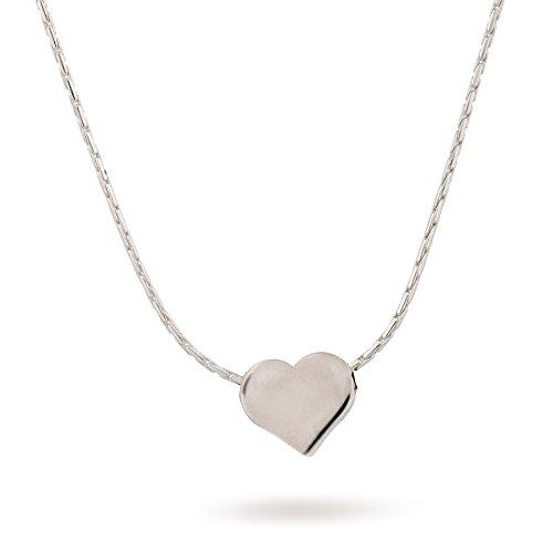 Sterling Silber Herz kleine Halskette 8mm Herz Charm L?nge 38cm / 16inch + 5cm Extender