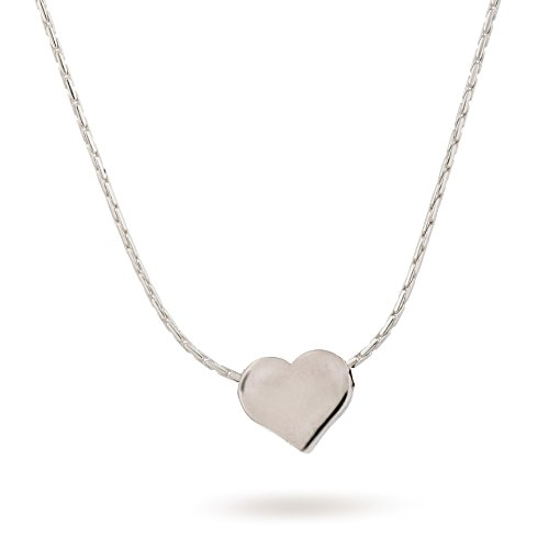 Sterling Silver Heart Necklace Tiny 8mm Heart Charm Length 38 cm/16 inch+5cm Extender