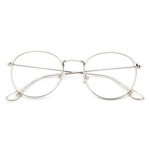 Juleya Occhiali da lettura Occhiali da lettura Occhiali da lettura Occhiali da vista Geek/Nerd per Uomini Donne (Argento)