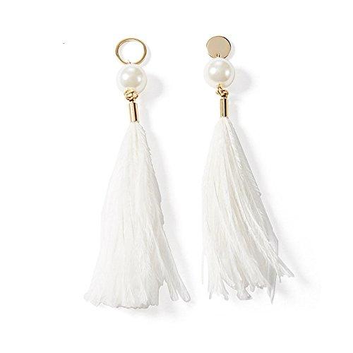 IRQ Orecchini in oro imitazione temperamento autunnale e invernale, orecchini femminili con piume lunghe, pendenti, orecchini con nappe coreano selvatici,bianca,Taglia unica