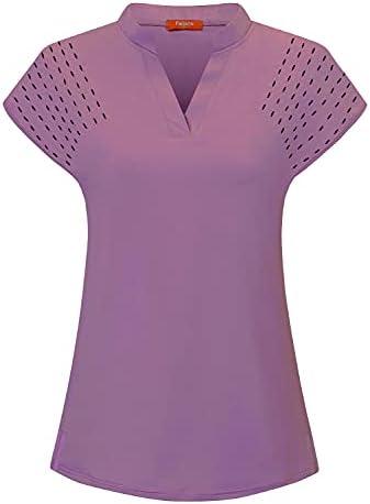 Felisou Womens V Neck Golf Polo Shirts Short...