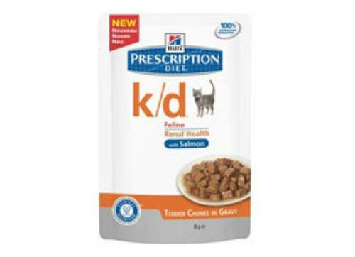 Hill's Prescription Diet k/d feline mit Lachs 12 x 85 g Frischebeutel