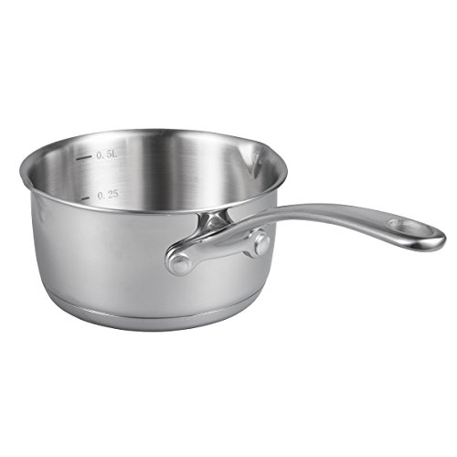 IMEEA (17oz/500ml Heavy Duty 18/10 Tri-Ply Stainless Steel Butter Warmer Pan with Dual Pour Spouts (0.5-Quart)