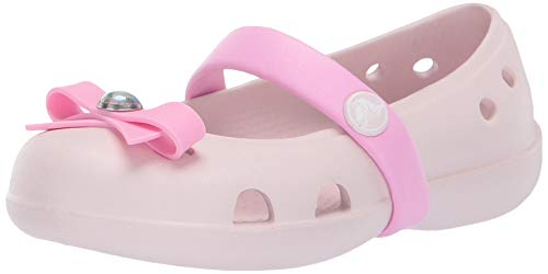 Crocs Girls' Keeley Charm Flat Mary Jane, Barely Pink, 9 M US Toddler