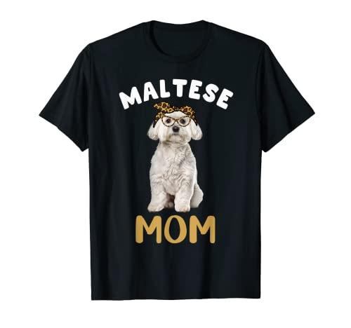 Maltese Mamma Mamma Maltese Amante Cane Proprietario Leopardo Stampa Donne Maglietta