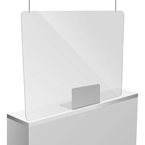 Mampara Metacrilato Colgante | Fácil Instalación | Para alturas de hasta 3,5 metros | Uso en cajas, mostradores y otros establecimientos | Metacrilato de 3mm (100x70cm)