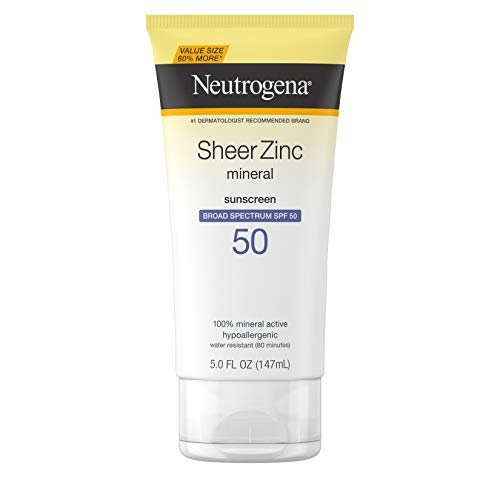 Neutrogena Sheer Zinc Oxide Dry-Touch Sunscreen Lotion with Broad Spectrum SPF 50, Water-Resistant, Hypoallergenic & Non-Greasy Mineral Sunscreen, Value-Size, 5 fl. oz