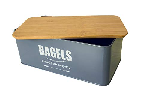 Bagel Bread Box, Metal with Bamboo Lid, Traditional Farmhouse Style - Compact, Kitchen Counter Storage Bin for Fresh Loaves, Bagels (Grey)