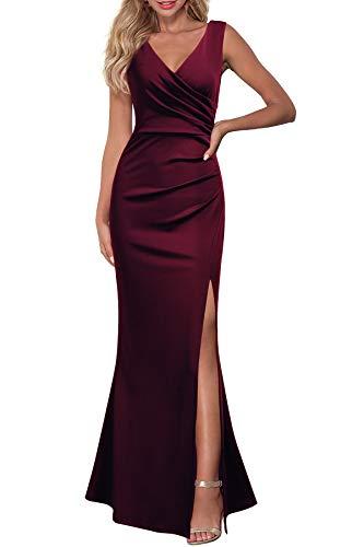 WOOSEA Women Sleeveless V Neck Split Evening Cocktail Long Dress Burgundy