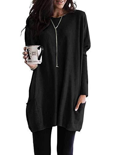 BLENCOT Magliette Donna Manica Lunga Pullover Donna Lungo Maglione Donna Invernale Top Lungo Donna per Leggings Maglia Oversize Donna Autunno Inverno Maglione Lungo Donna Invernale