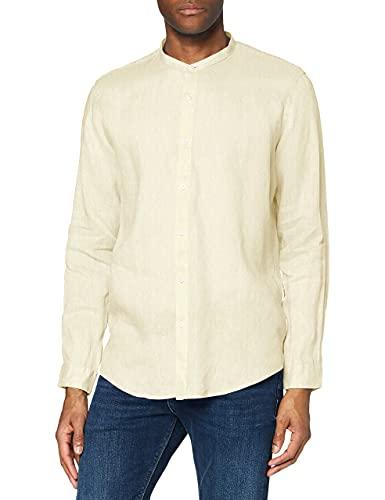 Encontrar. Camisa de lino de manga larga para hombre amarillo amarillo (Lemon) 44 (Manufacturer Size:XL)
