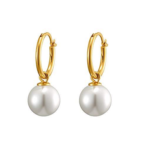 Heideman Ohrringe Damen aus Edelstahl gold farbend Ohrstecker hängend für Frauen mit Perle