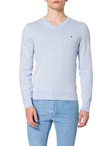 Tommy Hilfiger Herren Organic Cotton Blend V Neck Pullover, Süßes Blau, X-Large