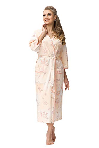 DOROTA Elegantes, langes Damen-Baumwoll-Nachthemd / Morgenmantel oder Morgenmantel, Made in EU, Morgenmantel-lachs, Gr. M (38)