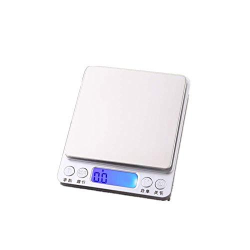 yurunn Báscula Digital de Cocina Báscula electrónica Gran Superficie de pesaje Iluminación Pantalla LCD Inglés (2 kg / 0.1 g)
