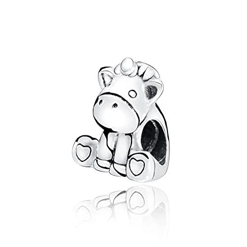 LIIHVYI Pandora Charms para Mujeres Cuentas Plata De Ley 925 Autumn Love Unicorn Lady Jewelry Compatible con Pulseras Europeos Collars