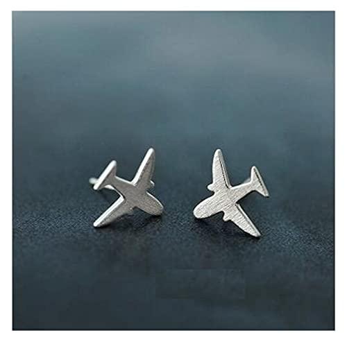 Pendiente 925 Joyería de Plata esterlina Dibujo de Moda Aviones Simples Pendientes para Mujeres JIAQII