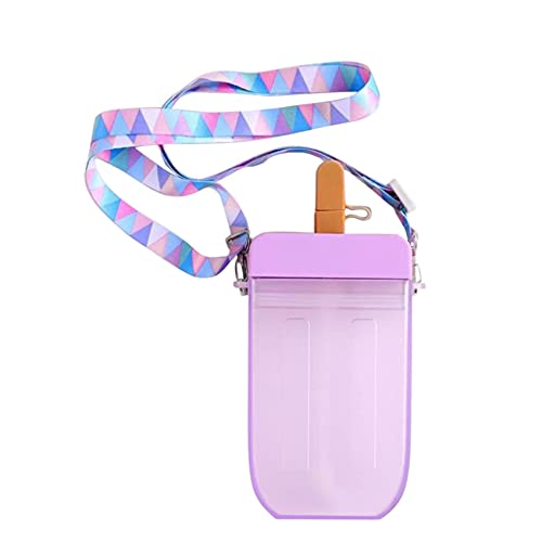 22 Pop Styles Cute Water Bottle for Kids - 300ml, Popsicle shaped, Donut Shaped water Bottle, Water Bottle with Straw, BPA Free, Leak Proof Lids and Shoulder Strap Baby Sippy Cups (D-4)