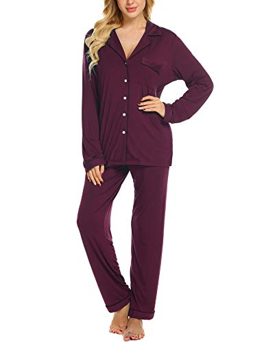Ekouaer Women's Comfortable Sleepwear Long Sleeve...