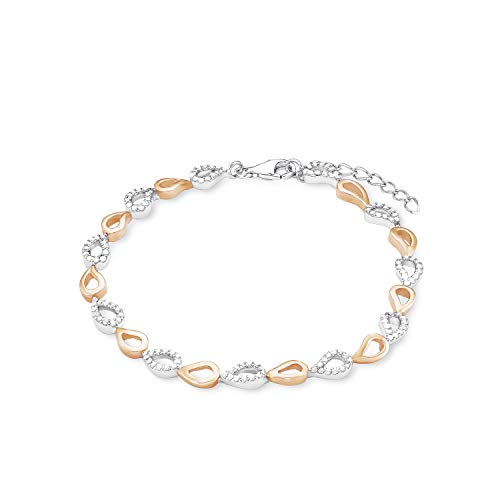 amor Armband für Damen 21 cm 925 Silber teil-rosévergoldet Bicolor Zirkonia weiß