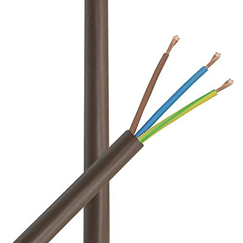 3m Zuleitung H03VV-F 3 x 0,75qmm Braun PVC isolierte Leitung 3G Leuchtenkabel Lampenkabel Kabel Anschlusskabel