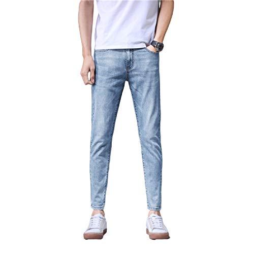 Pantalones Vaqueros de Cintura Media Finos de Primavera y Verano para Hombre, Bolsillos de Moda Estirar Pantalones Vaqueros cónicos relajados de Streetwear Retro 33