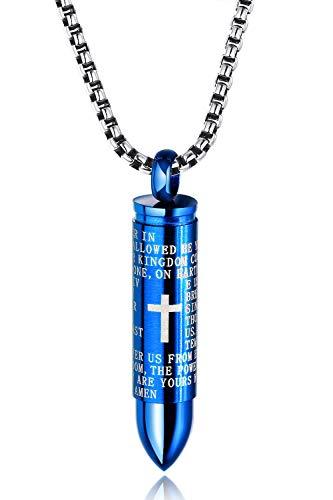OSTAN Collana da Uomo Donna Ciondolo Proiettile Pendente Cavo Girevole Blu