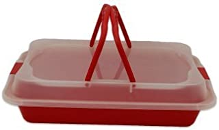Proctor Silex Rectangle Covered Carry Container 13 x 9 Inches Red 08800