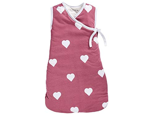 Bio Baby Cross-Over Schlafsack Kurzarm 100% Bio-Baumwolle (kbA) GOTS zertifiziert, Herz, 110 cm