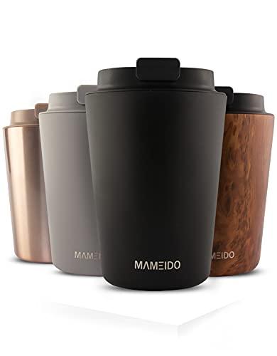 MAMEIDO Thermobecher 350ml Rich Black - Kaffeebecher aus Edelstahl doppelwandig isoliert, auslaufsicher - Coffee to go Becher für Kaffee & Tee