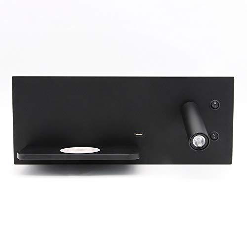 OUPPENG Minimalismo Dormitorio de luz LED de lectura lámpara USB cargador de pared aplique de noche de iluminación LED del cargador del teléfono inalámbrico funcional Lámparas de pared Decoración del