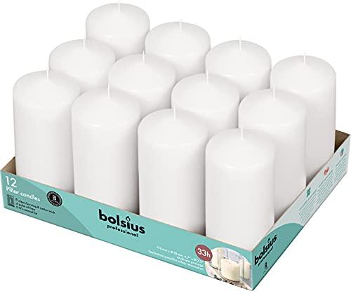Bolsius Basische kaarsen ter decoratie, was, wit, grootte enkele was: H 11,8 cm Ø 5,8 cm, 12 stuks