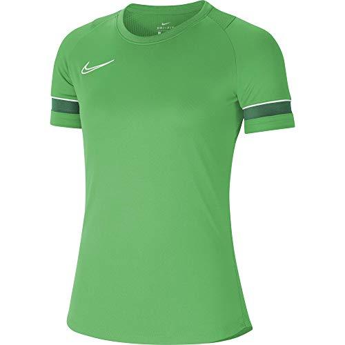 NIKE Camiseta de Entrenamiento para Mujer Academy 21, Mujer, Camiseta, CV2627-362, Verde Brillante, Blanco, Verde Pino, Blanco, Large