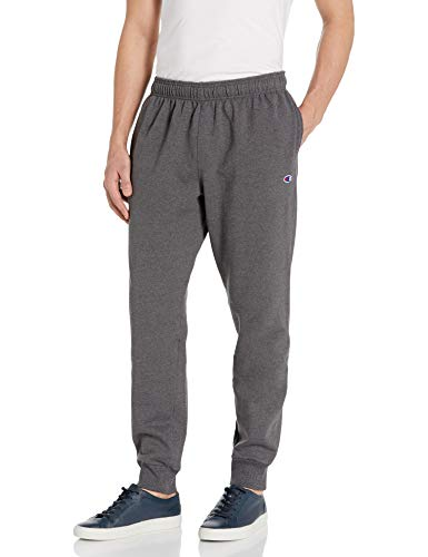 Champion Men's Powerblend Retro Fleece Jogger Pant, Granite Heather, Small