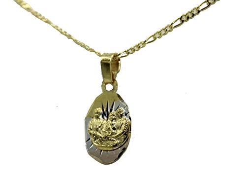 Diamantados of Florida - Medalla de Bautizo chapada en Oro de 18 Quilates con Cadena de 45 cm