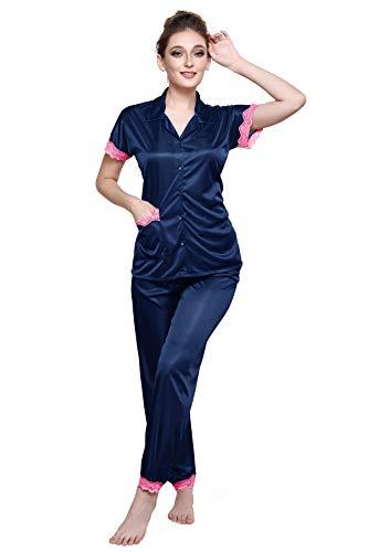 TIGYWIGY Women's Satin Half Sleeves Top and Pyjama Nightsuit Set (Navy Blue, Small)