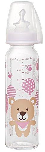 Nip standardflaska, glas med anatomisk silikon teat, storlek; medium, 0-6 månader, 250 ml, för flickor