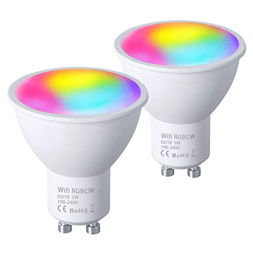 Vicloon Bombilla LED Inteligente GU10, 2 Pc 5W Wifi Smart LED Lámpara GU10, Regulable Blanco Cálido a Fríocon, Lámpara WiFi Funciona con Compatible con Alexa, Google Home y App Smart Life/Tuya