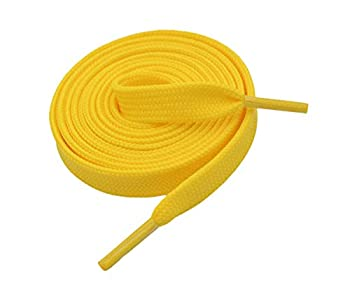 """VSUDO 55 Inches Golden Yellow Fine Weave Flat Shoe Lace for Sneaker 5/16"""" Width Flat Sneaker Shoestring Flat Sneaker Shoelace Flat Shoe String for Running Athletic Shoe [1 Pair-Golden Yellow-140CM]"""