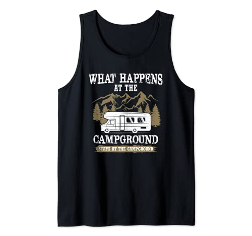 Qué sucede en el camping se queda en el camping Camiseta sin Mangas