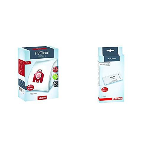 Miele Original Zubehör FJM HyClean 3D Staubbeutel / filtert mehr als 99,9 prozent aller Feinstaubpartikel / 4 Staubbeutel, 1 Motorschutzfilter, 1 Abluftfilter / für Staubsauger / Rot