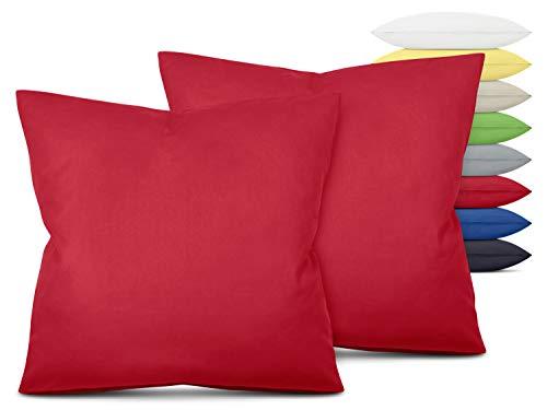 Unifarbene Kissenbezüge im Doppelpack - in 8 Farben und 3 Größen - Moderne Wohndekoration in dezentem Design, ca. 80 x 80 cm, rot