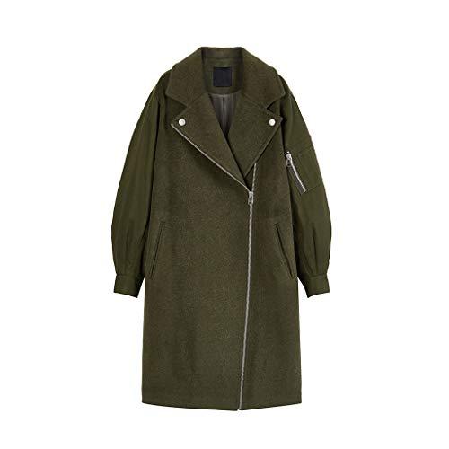 XUEPING vrouwen lange effen kleur jas, winter bont pak kraag jas, rits Snap manchetten houden warm losse vrije tijd jas XS-S geschikt voor 20-40 jaar oud (legergroen)