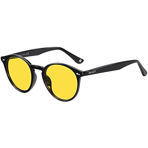 H HELMUT JUST Gafas de Sol para Hombre Mujer Conduir de Noche Redondas Polarizadas Vintage Unisex TR90 y Acetato Lente Amarilla