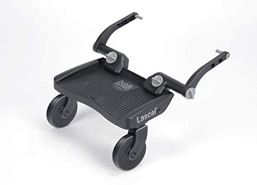 Lascal BuggyBoard Mini 3D, Kinderbuggy Trittbrett mit strukturierter Stehfläche, Kinderwagen Zubehör für Kinder von 2-6 Jahren (22 kg), kompatibel mit fast jedem Buggy und Kinderwagen, grau
