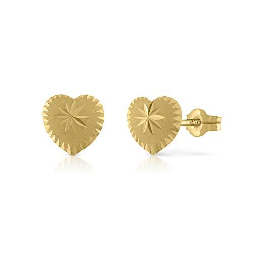 Pendientes Oro de Ley Certificado. Niña/Mujer. Diseño Corazón. Cierre de presión de calidad. Medida 8 mm. (4-4662-8)