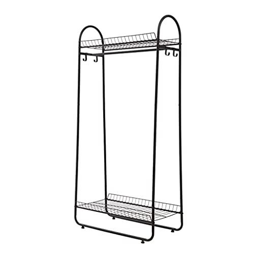 LICHUAN Perchero para abrigos, color negro, con 4 ganchos y 2 estantes de almacenamiento de 2 niveles, fácil montaje (color: negro)