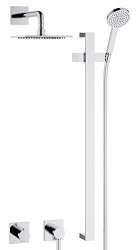 KEUCO IXMO Duschsystem 2 Verbraucher, Komplett-Set mit Thermostat, Kopf- und Handbrause, Brausestange mit -halter, Brause-Schlauch, eckige Rosetten